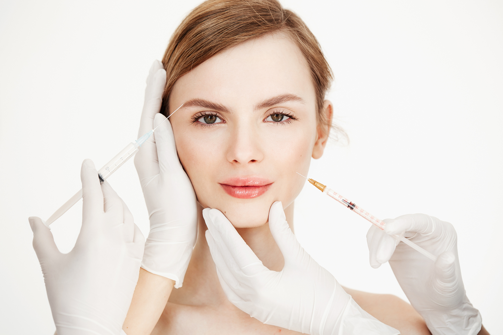Botox injection for wrinkles softening or disappearing.